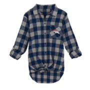 Juniors' Denver Broncos Spirit Week Knot-Front Plaid Flannel Shirt