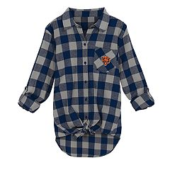 Juniors' Chicago Bears Spirit Week Knot-Front Plaid Flannel Shirt