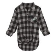 Juniors' Philadelphia Eagles Spirit Week Knot-Front Plaid Flannel Shirt