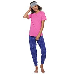 Juniors' SO® 3-piece Tee, Jogger & Headband Pajama Set