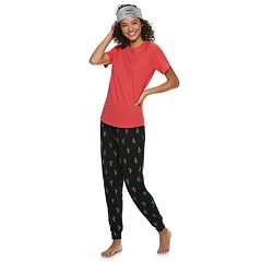 Juniors' SO® 3-piece Headband, Sleep Tee & Banded Bottom Sleep Pant Pajama Set