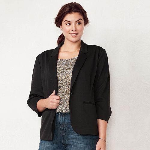 Plus Size LC Lauren Conrad Fitted Ponte Blazer