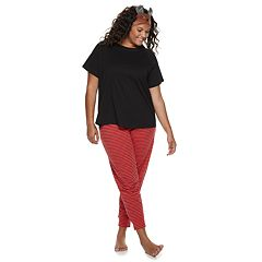 Plus Size SO® 3-piece Tee, Jogger & Headband Pajama Set