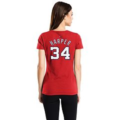 Women's Majestic Washington Nationals Bryce Harper Name & Number Tee