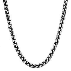 LYNX Men's Antiqued Stainless Steel Wheat Chain Necklace - 22 in.