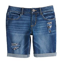 Girls 7-16 SO® Cuffed Bermuda Jean Shorts