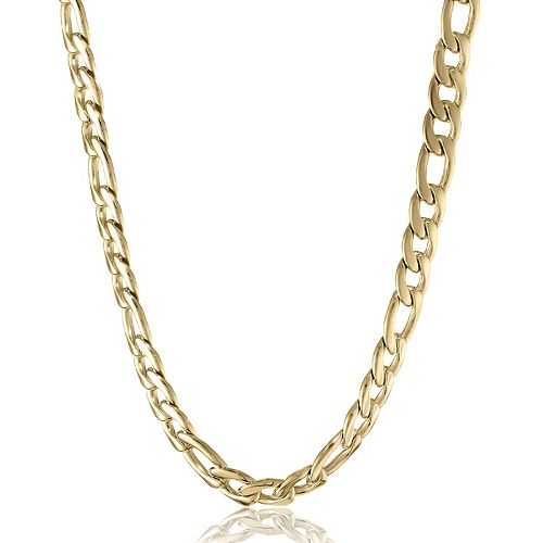 LYNX Men's Gold Tone Steel Stainless Steel Figaro Chain Necklace -24 in.