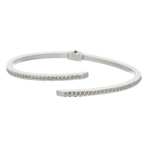 Diamond Mystique Platinum Over Silver Bypass Bangle Bracelet