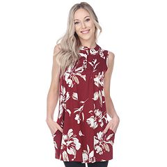 Women's White Mark Floral Pintuck Tunic