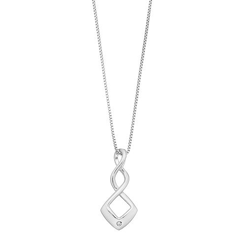 Boston Bay Diamonds Sterling Silver Diamond Accent Square Twist Pendant Necklace