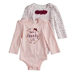 Baby Girl Baby Starters 2-pack 'Such A Lovely Girl' Graphic & Floral Bodysuits