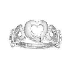 Boston Bay Diamonds Sterling Silver Diamond Accent Heart Ring