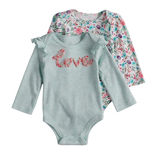 """Baby Girl Baby Starters 2-pack """"Love"""" & Floral Bodysuits"""