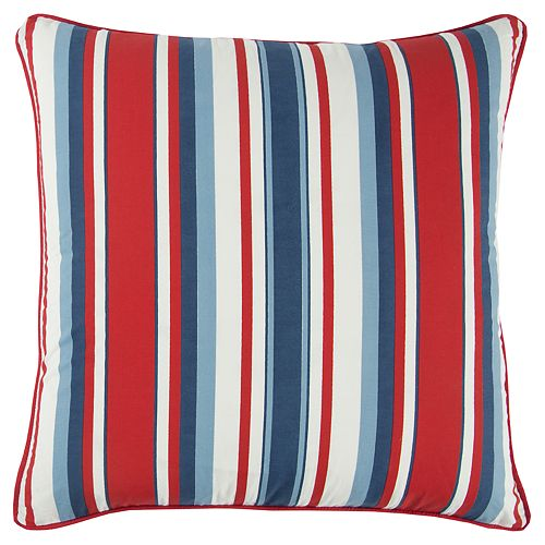 Rizzy Home Andrew Charles Red Stripe Transitional Throw Pillow