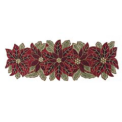 St. Nicholas Square® Beaded Poinsettia Table Runner - 36'