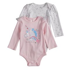 Baby Girl Baby Starters 2-pack 'You Are Magical' Graphic & Glitter Heart Bodysuits