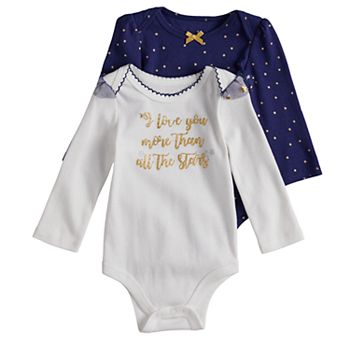 5b014d40b4 Baby Girl Baby Starters 2-pack Star Print   Glittery Graphic Bodysuits