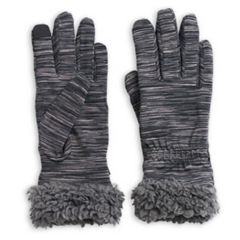 Women's Cuddl Duds Space Dyed Flex Fit Faux Sherpa Cuff Gloves
