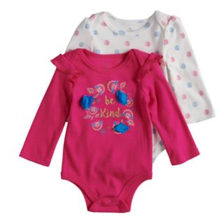 """Baby Girl Baby Starters 2-pack """"Be Kind"""" Graphic & Flower Print Bodysuits"""