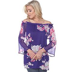 Women's White Mark Floral Off-the-Shoulder Tunic