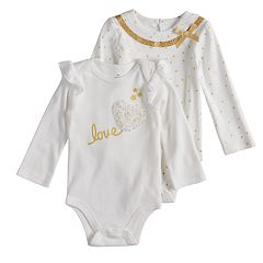 Baby Girl Baby Starters 2-pack Foiled 'Love' & Star Bodysuits