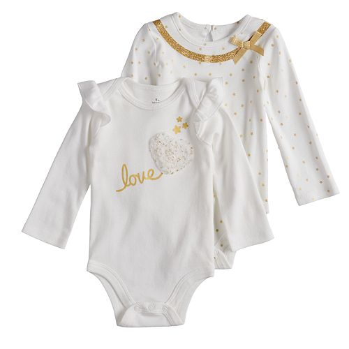 "Baby Girl Baby Starters 2-pack Foiled ""Love"" & Star Bodysuits"