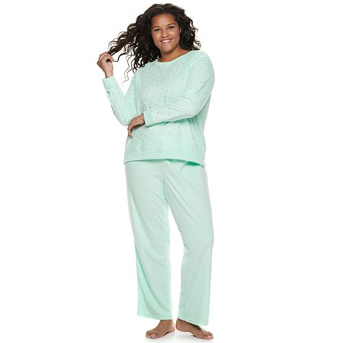 Plus Size SO® Graphic Tee & Microfleece Pants Pajama Set