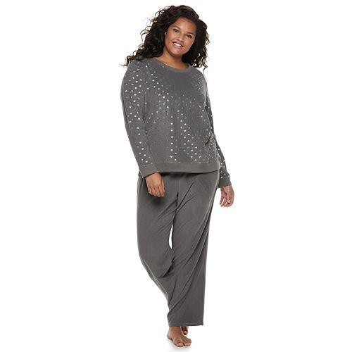 Plus Size SO® Graphic Tee & Microfleece Pants Pajama Set