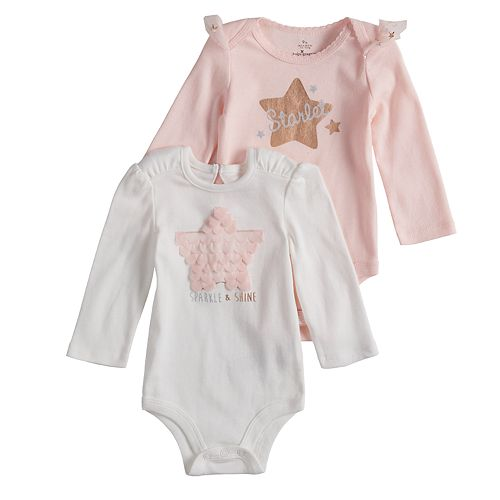 """Baby Girl Baby Starters 2-pack Star Applique & """"Starlet"""" Graphic Bodysuits"""