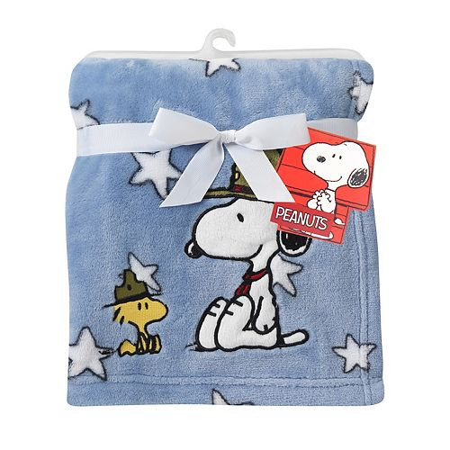 Lambs & Ivy Peanuts Snoopy's Campout Plush Baby Blanket