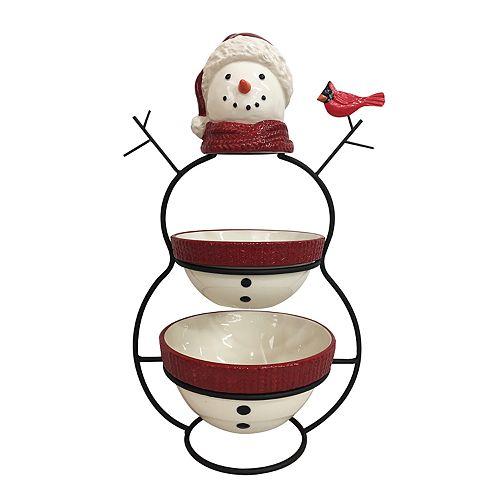St. Nicholas Square® Yuletide Snowman 2-Tier Server