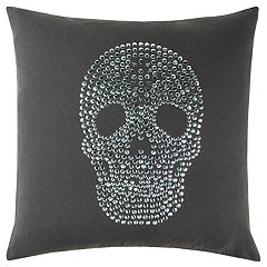 Rizzy Home Andrew Charles Black Skull Transitional Throw Pillow