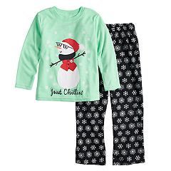 Toddler Jammies For Your Families Snowman & Snowflakes 'Just Chillin'' Top & Microfleece Bottoms Pajama Set