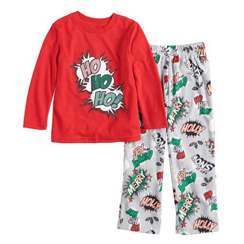 "Toddler Jammies For Your Families ""Ho Ho Ho!"" Comic Book Top & Microfleece Bottoms Pajama Set"