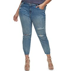 Plus Size Jennifer Lopez Embellished Distressed Skinny Ankle Jeans