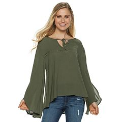 Juniors' Grayson Threads Tassel Peasant Top