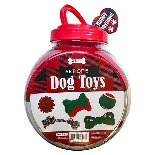 Woof Holiday Dog Toys 5-pc. Set