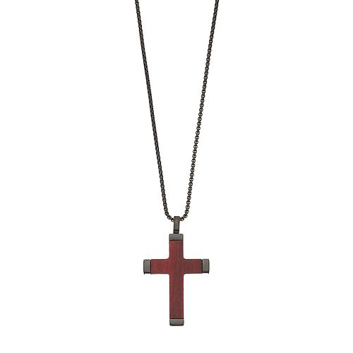 LYNX Men's Black Stainless Steel & Wood Cross Pendant Necklace