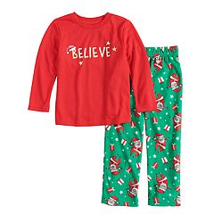 Toddler Jammies For Your Families 'Believe' Top & Santa Microfleece Bottoms Pajama Set