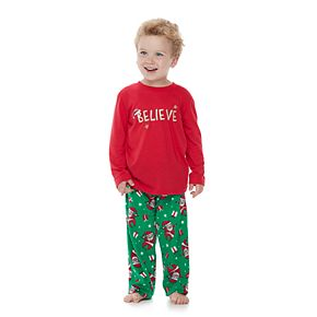 "Toddler Jammies For Your Families ""Believe"" Top & Santa Microfleece Bottoms Pajama Set"