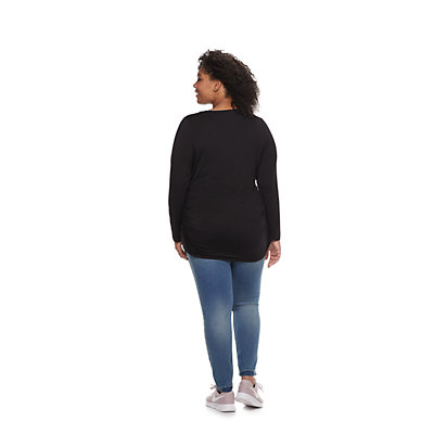 Plus Size Maternity a:glow Ruched Scoopneck Tee