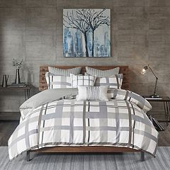 INK+IVY Sterling Plaid 3-piece Cotton Sateen Duvet Cover Set