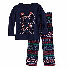 Toddler Jammies For Your Families Gingerbread Man Holiday Top & Fairisle Microfleece Bottoms Pajama Set