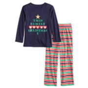 "Toddler Jammies For Your Families ""This Family Loves Christmas"" Top & Microfleece Striped Bottoms Pajama Set"