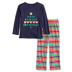 Toddler Jammies For Your Families 'This Family Loves Christmas' Top & Microfleece Striped Bottoms Pajama Set