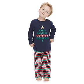 """Toddler Jammies For Your Families """"This Family Loves Christmas"""" Top & Microfleece Striped Bottoms Pajama Set"""