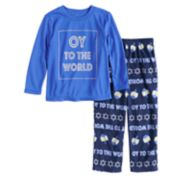 "Toddler Jammies For Your Families Hanukkah ""Oy to the World"" Top & Microfleece Bottoms Pajama Set"