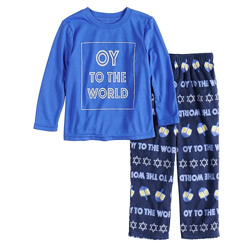 """Toddler Jammies For Your Families Hanukkah """"Oy to the World"""" Top & Microfleece Bottoms Pajama Set"""