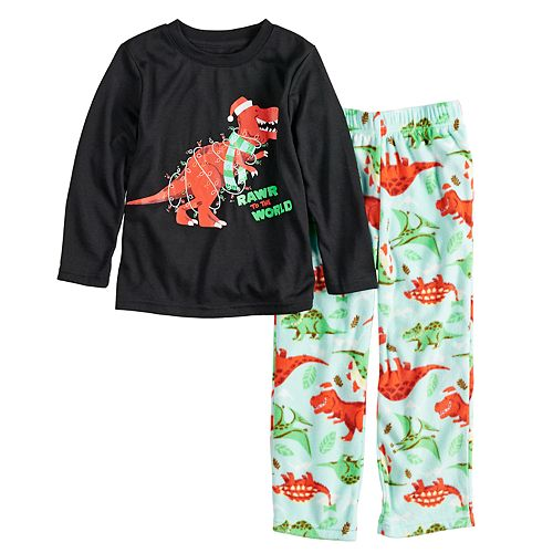 "Toddler Jammies For Your Families Dino ""Rawr to the World"" Top & Microfleece Bottoms Pajama Set"