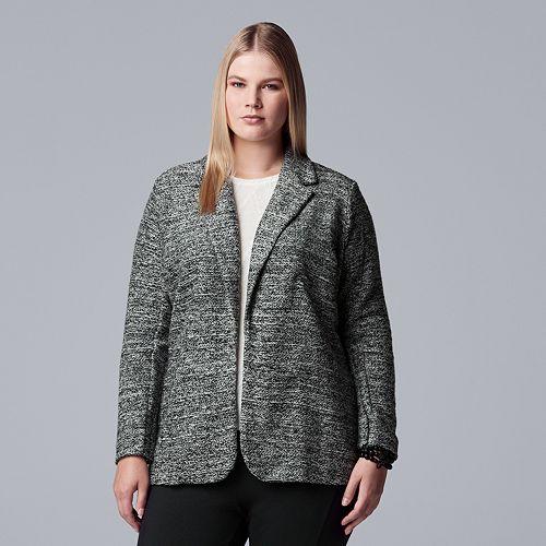 Plus Size Simply Vera Vera Wang Marled Blazer